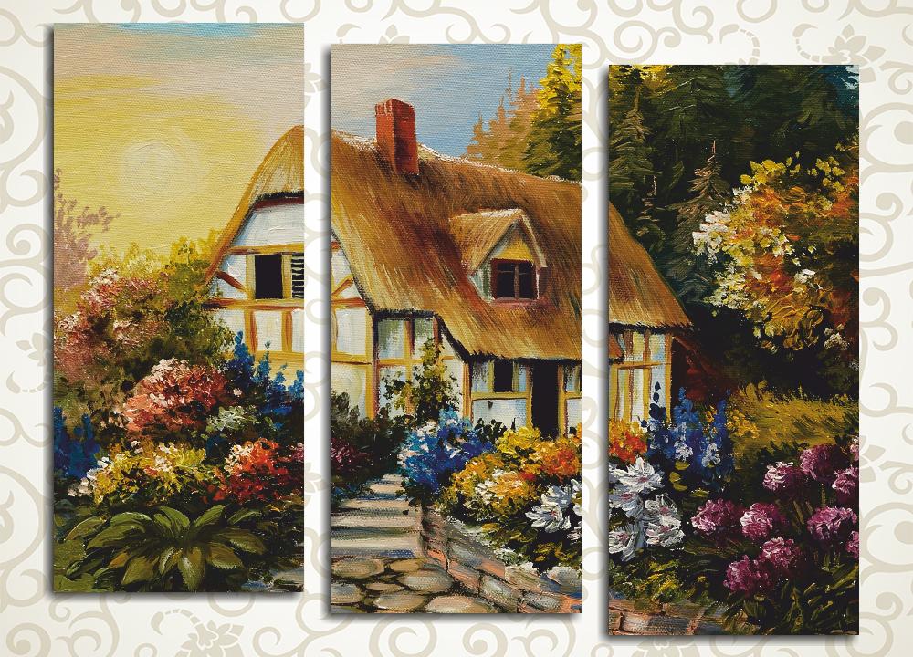 Модульная картина Сказочный сельский домик