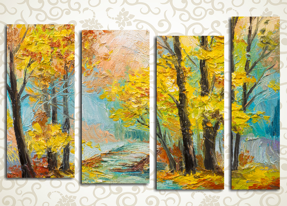 Модульная картина Яркий осенний пейзаж