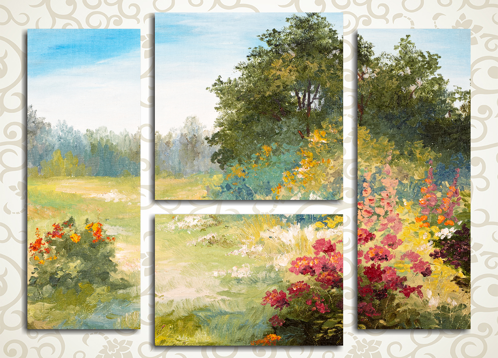 Модульная картина Цветы на лесной поляне