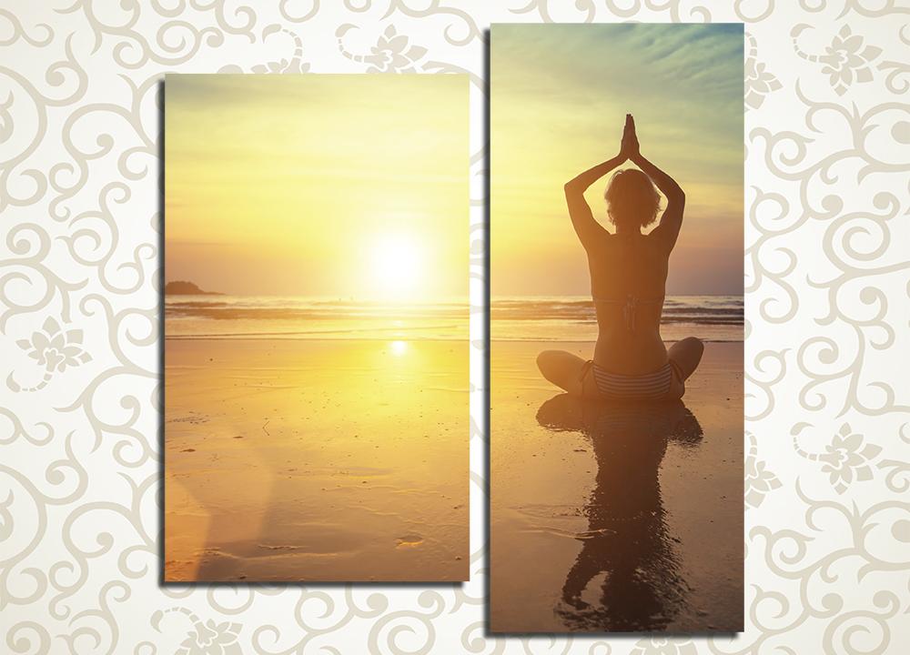 Модульная картина Медитация на пляже<br>