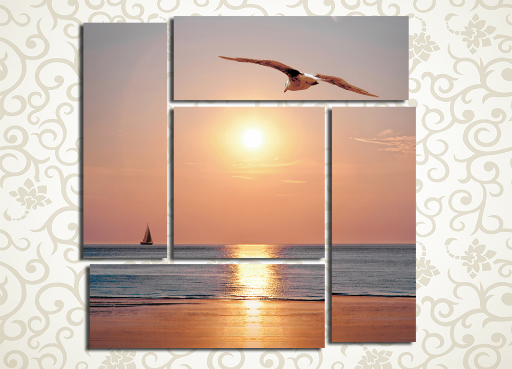 Модульная картина Закат на море