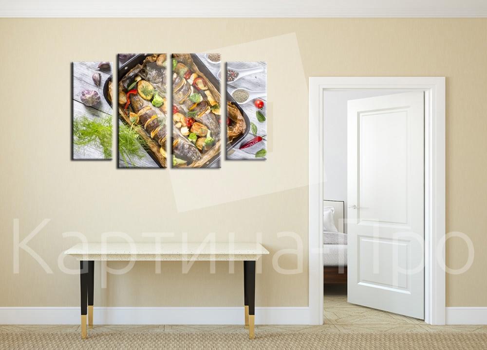 Модульная картина Жареная рыбка от Kartina-Pro