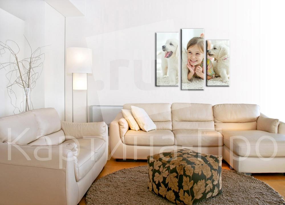 Модульная картина Девочка со щенками от Kartina-Pro