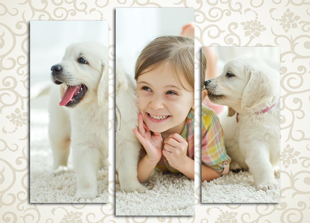 Модульная картина Девочка со щенками