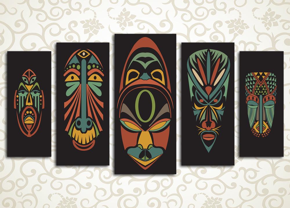 Модульная картина Африканские маски