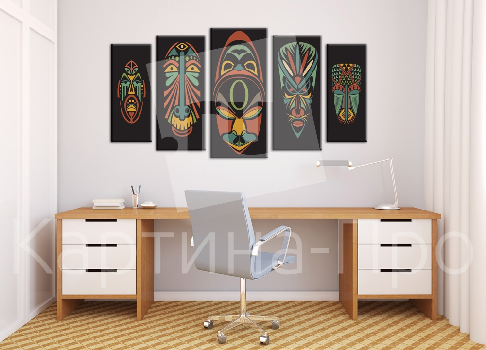 Модульная картина Африканские маски от Kartina-Pro