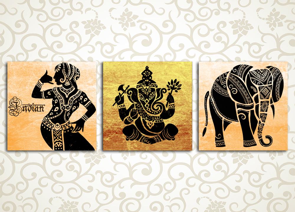 Модульная картина Индийские мотивы<br>