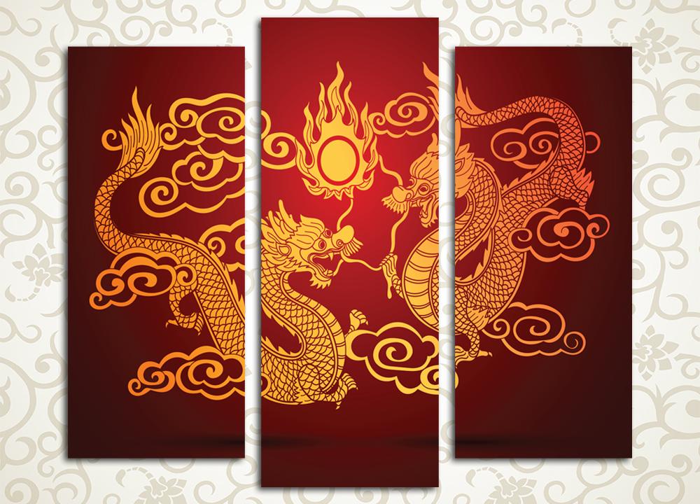Модульная картина Золотой дракон
