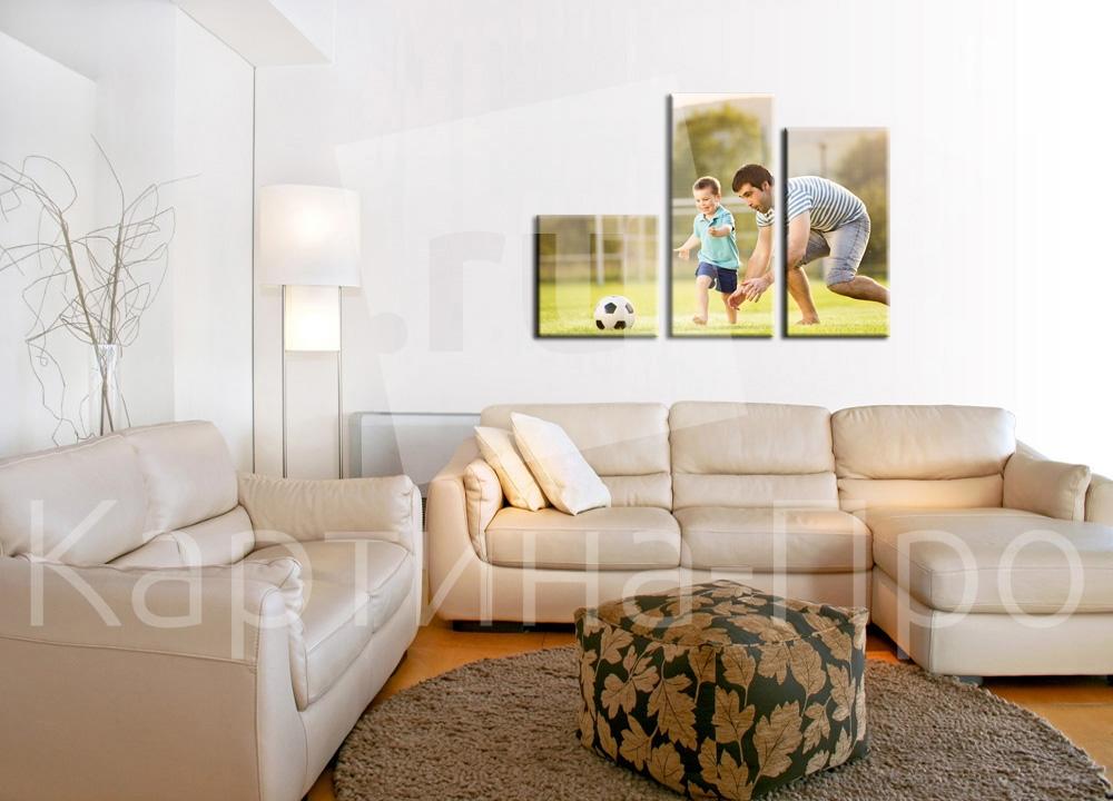 Модульная картина Маленький футболист и его тренер от Kartina-Pro