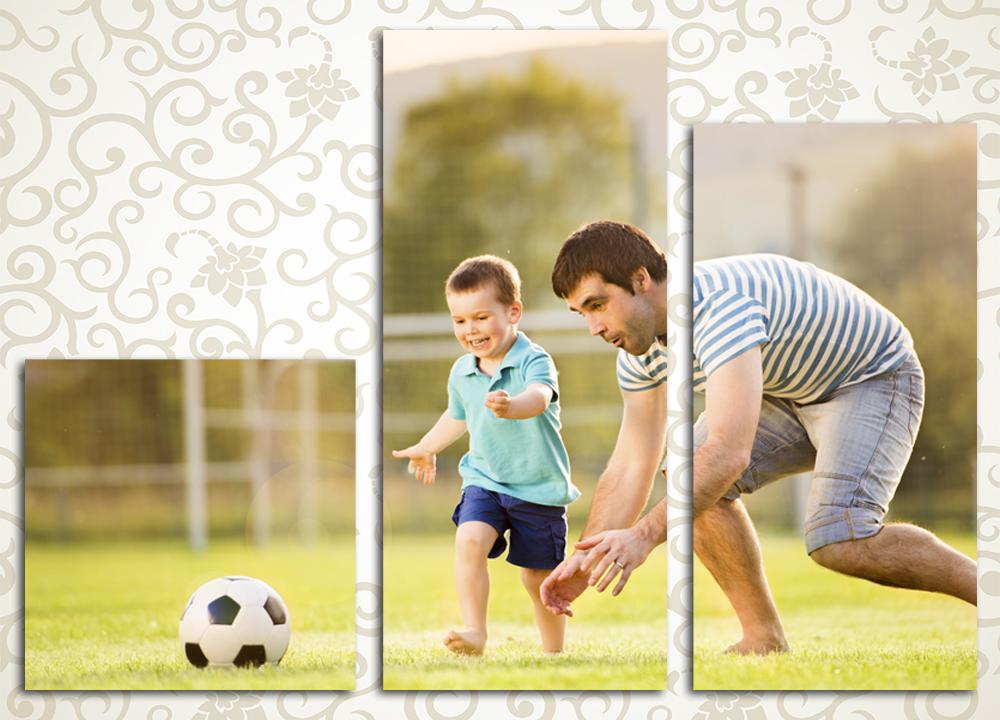 Модульная картина Маленький футболист и его тренер