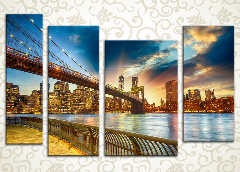 Модульная картина Манхэттен в закате