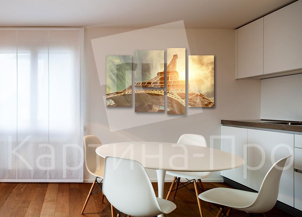 Модульная картина Огненная  Эйфелева башня, Париж от Kartina-Pro