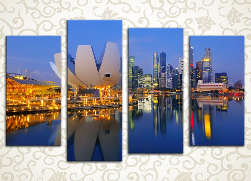 Модульная картина Ночной Сингапур
