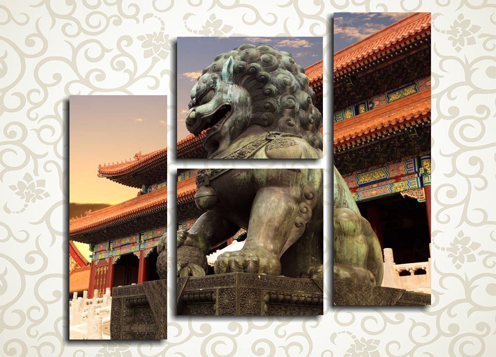 Модульная картина Лев на фоне храма в Китае