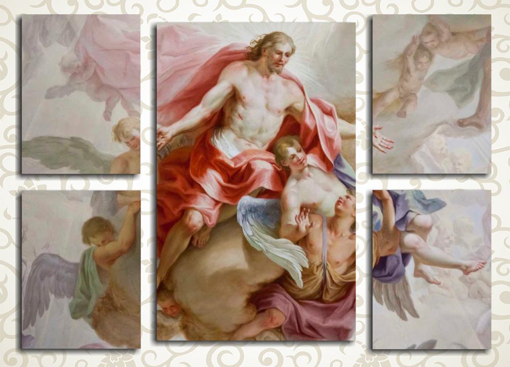Модульная картина Фреска. Beautiful religious fresco