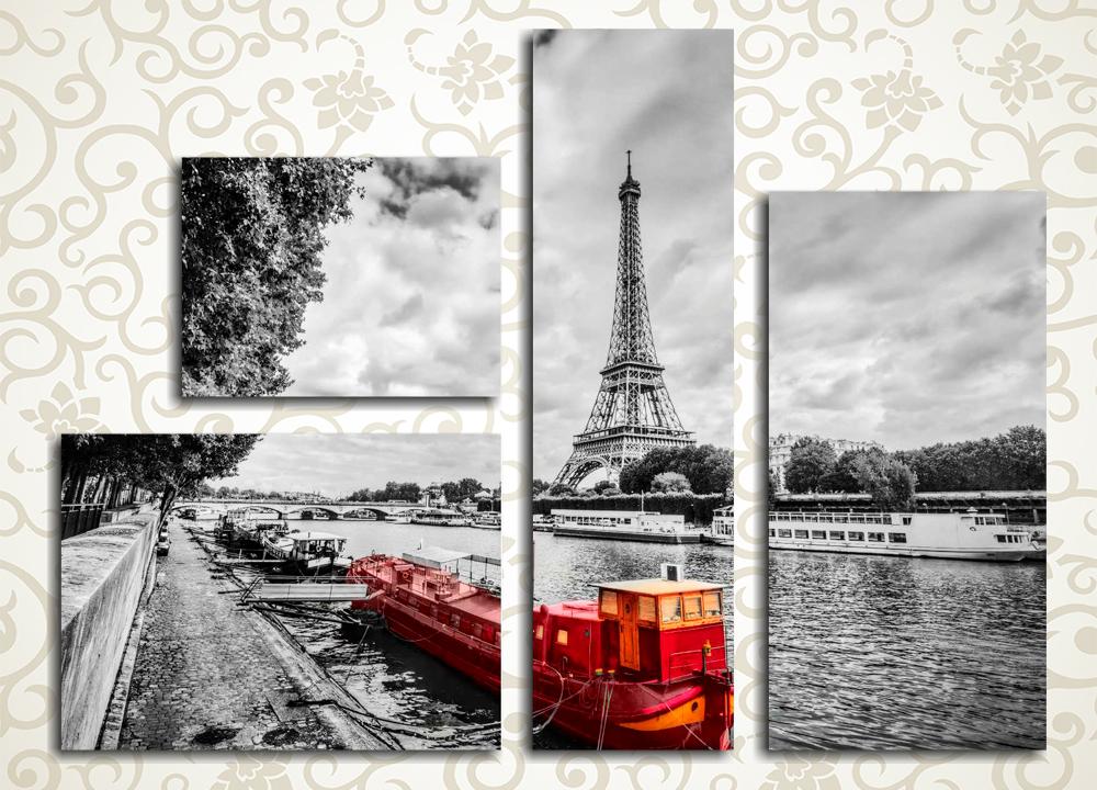 Модульная картина Тучи над Парижем (Франция)Изысканная модульная картина «Тучи над Парижем (Франция)» изображает черно-белый пейзаж французской столицы с видом на Эйфелеву башню. Ярким цветным пятном выделяется красно-желтое грузовое судно на Сене, что обеспечивает данной композиции особую выразительность. Эта картина достойна занять почетное место в гостиной, зале, холле, рабочем кабинете, а также в спальне. Изображение состоит из 4 сегментов различной формы. Высокотехнологичная латексная краска надолго сохранит первозданную свежесть картины.<br>