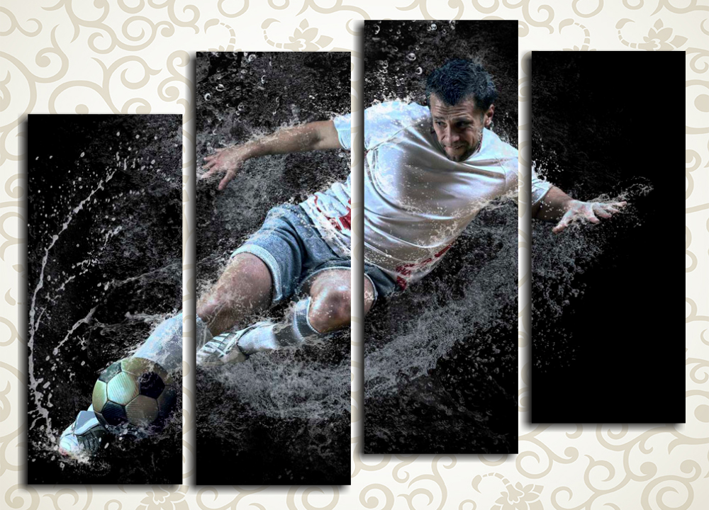 Модульная картина Целеустремленный футболист