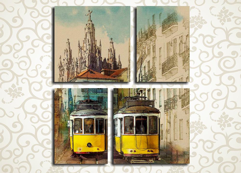 Модульная картина Желтые трамваи