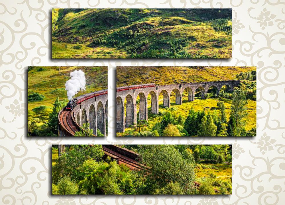 Модульная картина Поезд на мосту