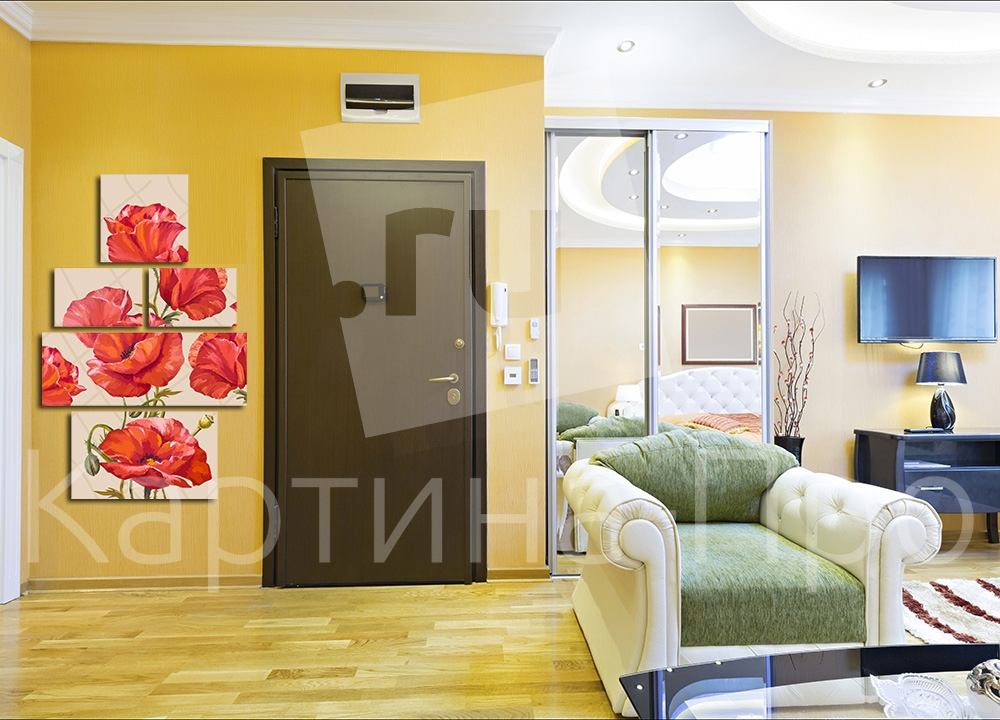 Модульная картина Маковый узор от Kartina-Pro