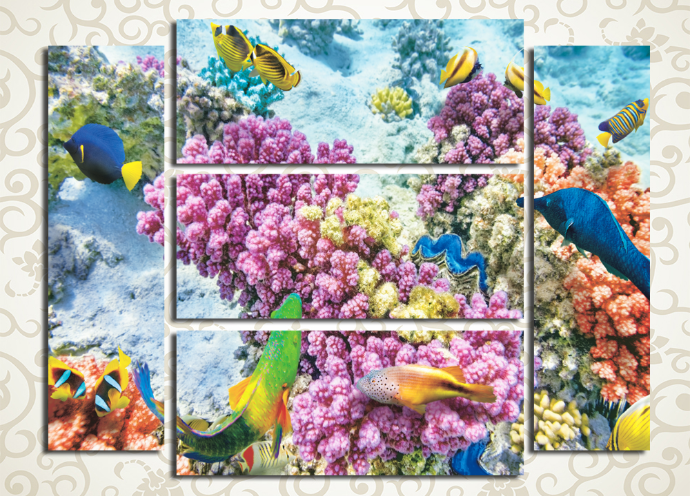 Модульная картина Кораллы и рыбы