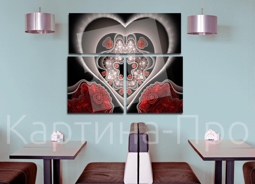 Модульная картина Сердце из фрактальных линий от Kartina-Pro