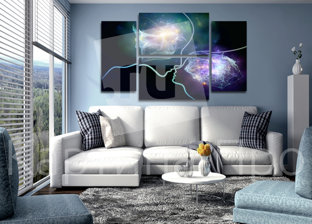 Модульная картина Профили из абстрактных линий от Kartina-Pro