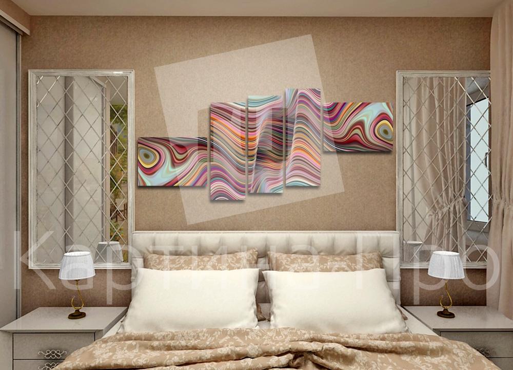 Модульная картина 3d абстрактные волнистые линии от Kartina-Pro