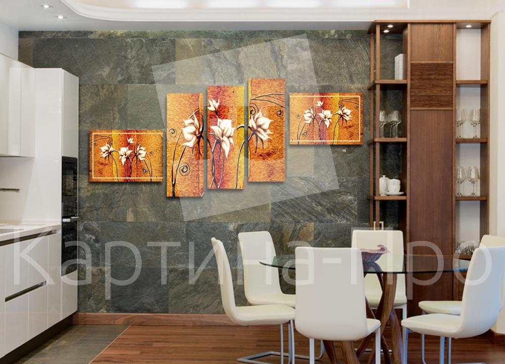 Модульная картина Абстрактные цветы от Kartina-Pro
