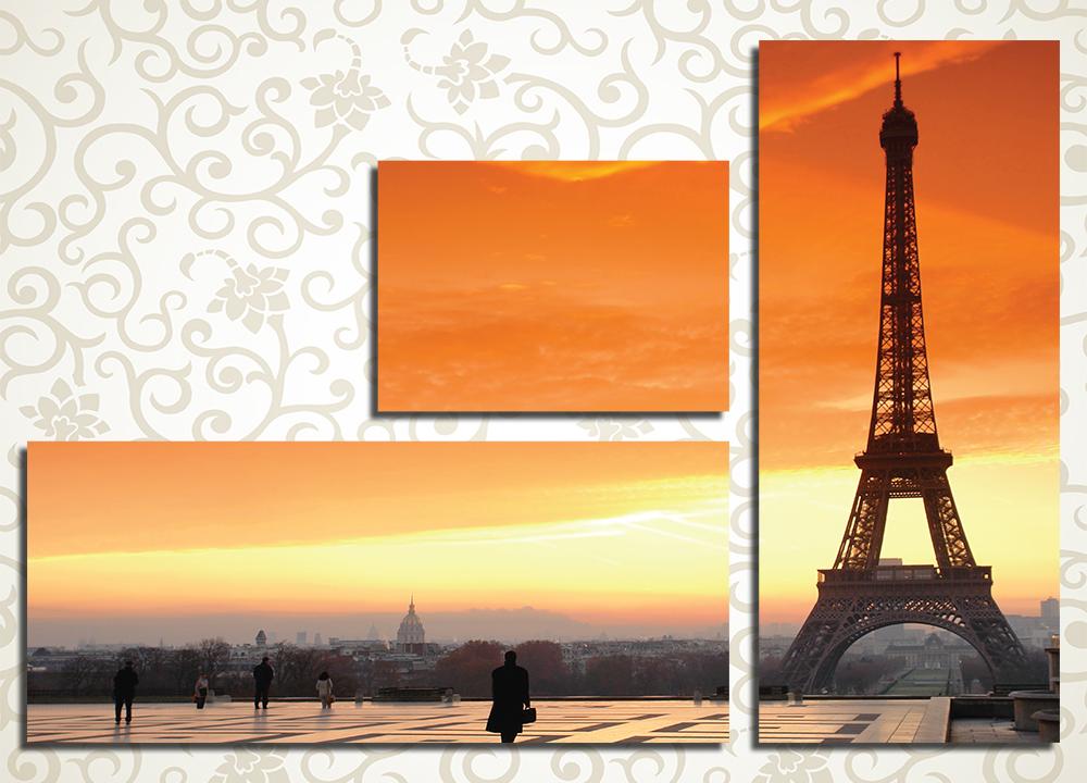 Модульная картина Закат над Эйфелевой Башней (Париж)