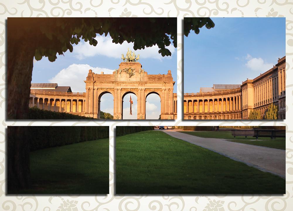 Модульная картина Триумфальная арка Брюсселя (Бельгия)<br>