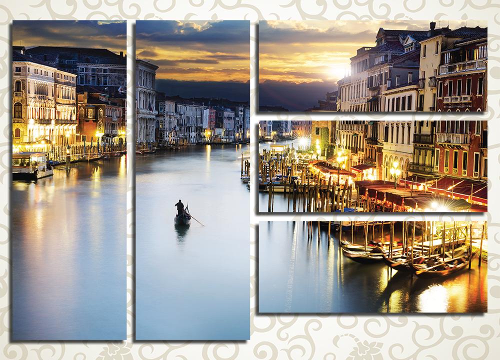 Модульная картина Вечерние каналы Венеции, Италия