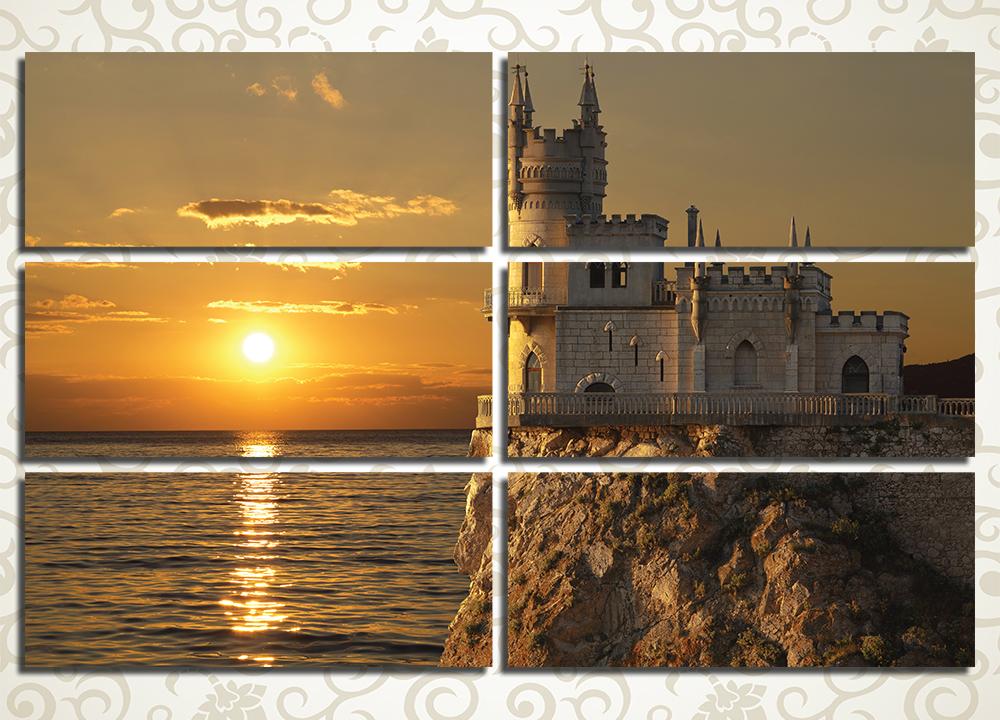 Модульная картина Ласточкино гнездо на закате (Крым)
