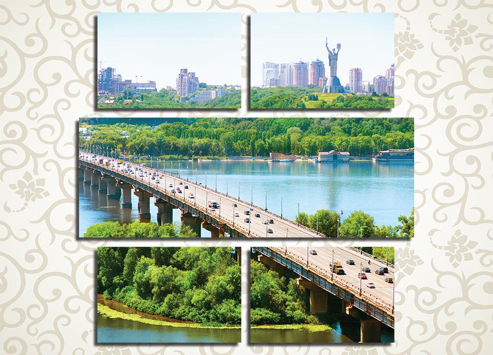 Модульная картина Мост через Днепр в Киеве