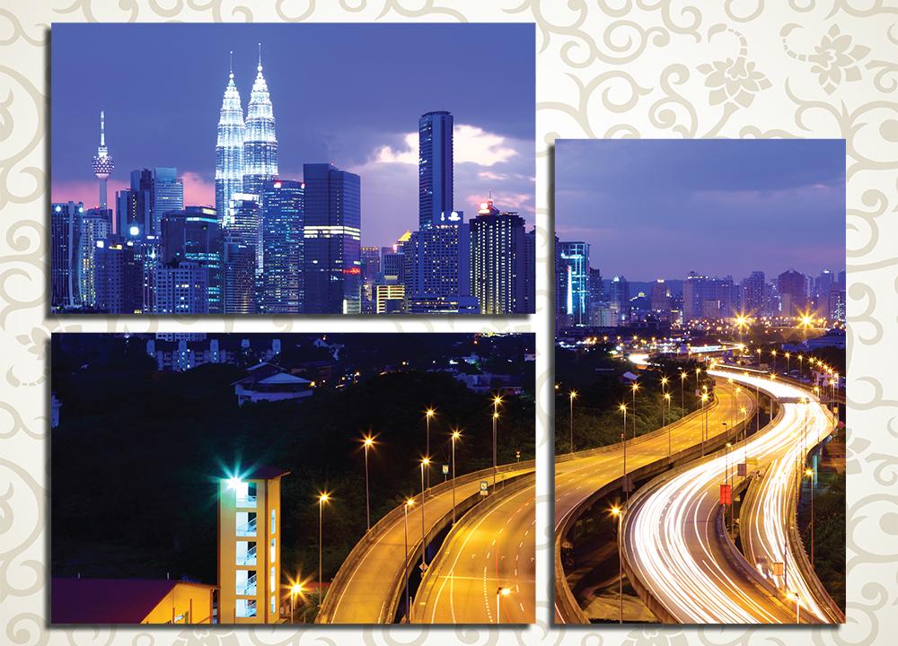 Модульная картина Ночной Куала-Лумпур, Малайзия