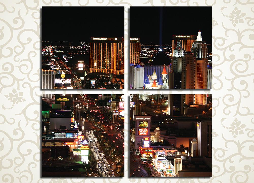 Модульная картина Ночной Лас-Вегас (США)