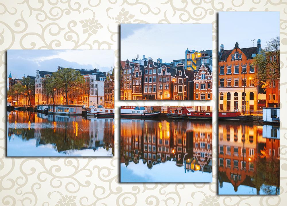 Модульная картина Вечерний Амстердам