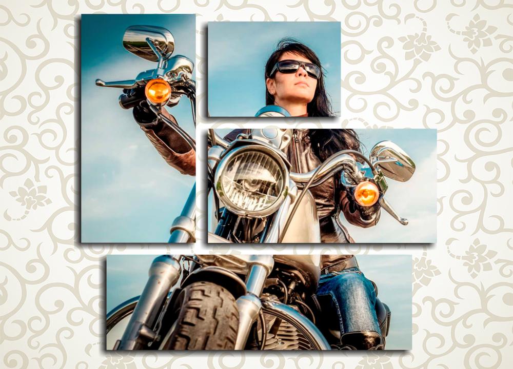 Модульная картина Мотоциклистка