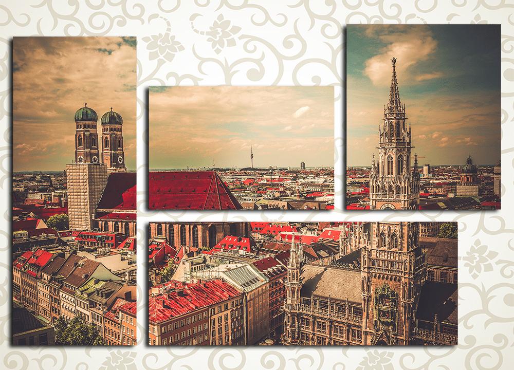 Модульная картина Панорама Мюнхена (Германия)<br>