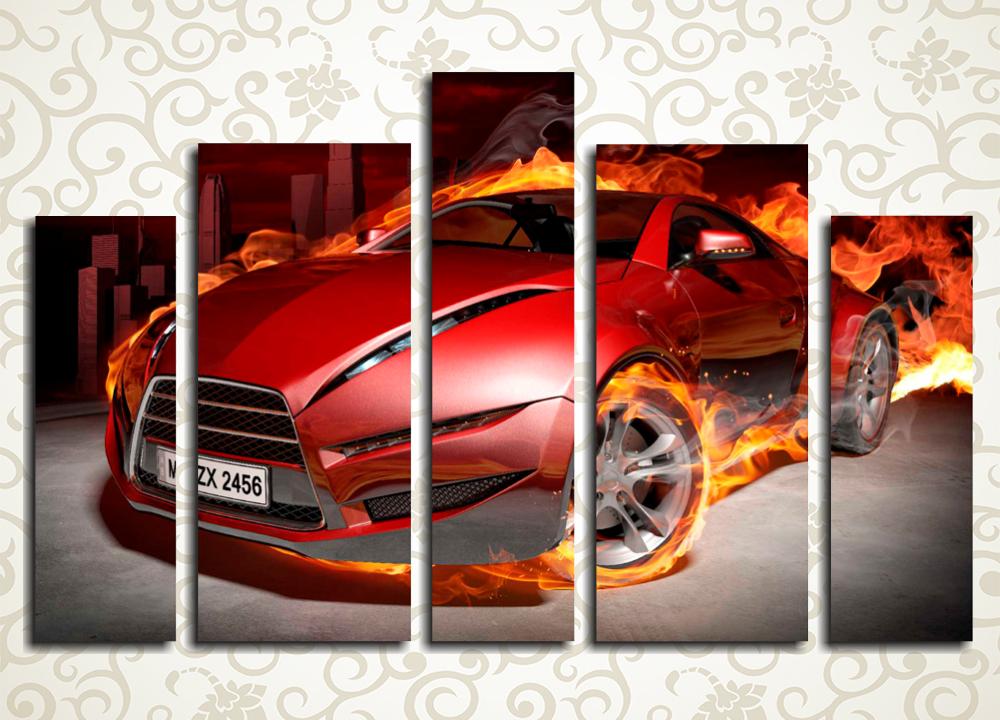 Модульная картина Красное авто<br>