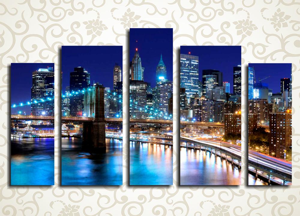 Модульная картина Ночное очарование Нью-Йорка