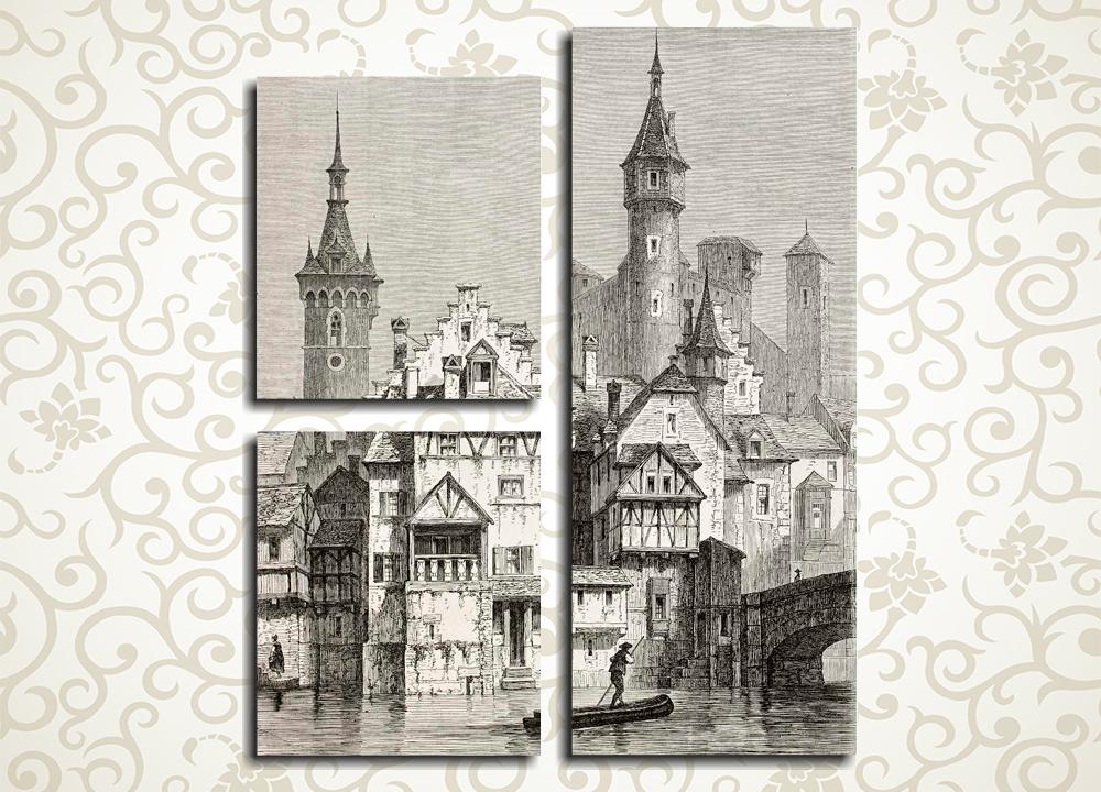 Модульная картина Рисунок Парижа (Франция)