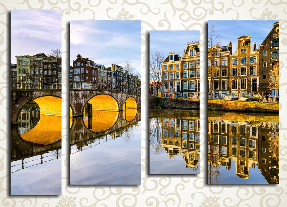 Модульная картина Вечерние каналы Амстердама (Нидерланды)
