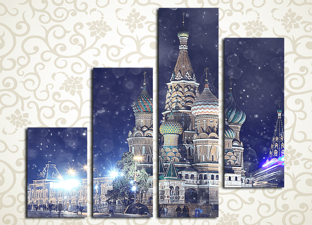 Модульная картина Собор Василия Блаженного ночью, Москва