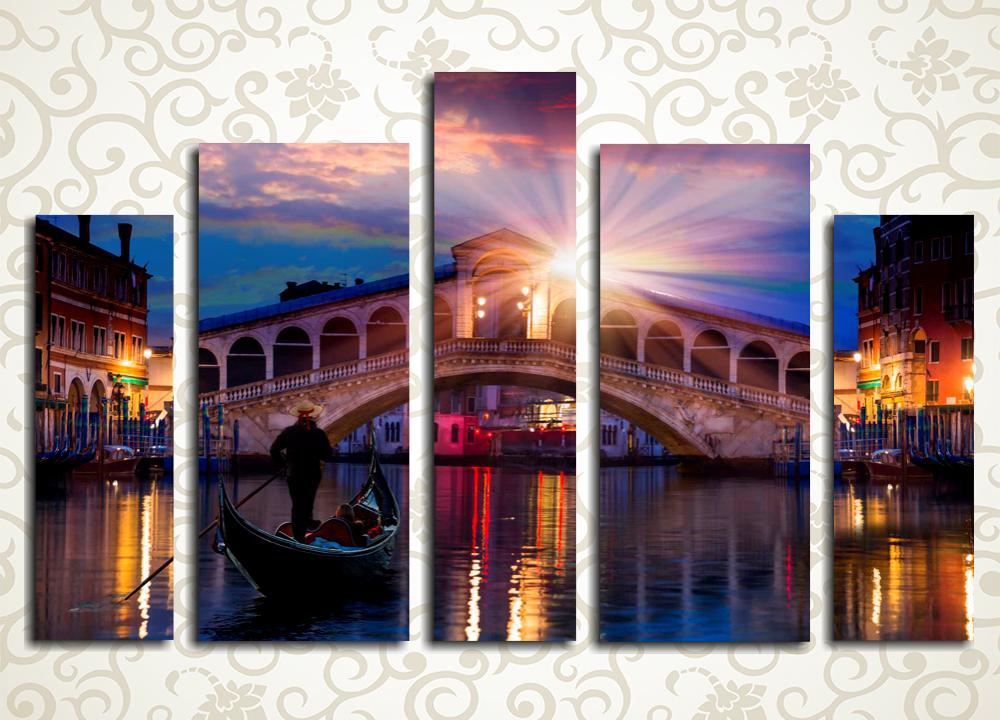 Модульная картина Закат в Венеции (Италия)