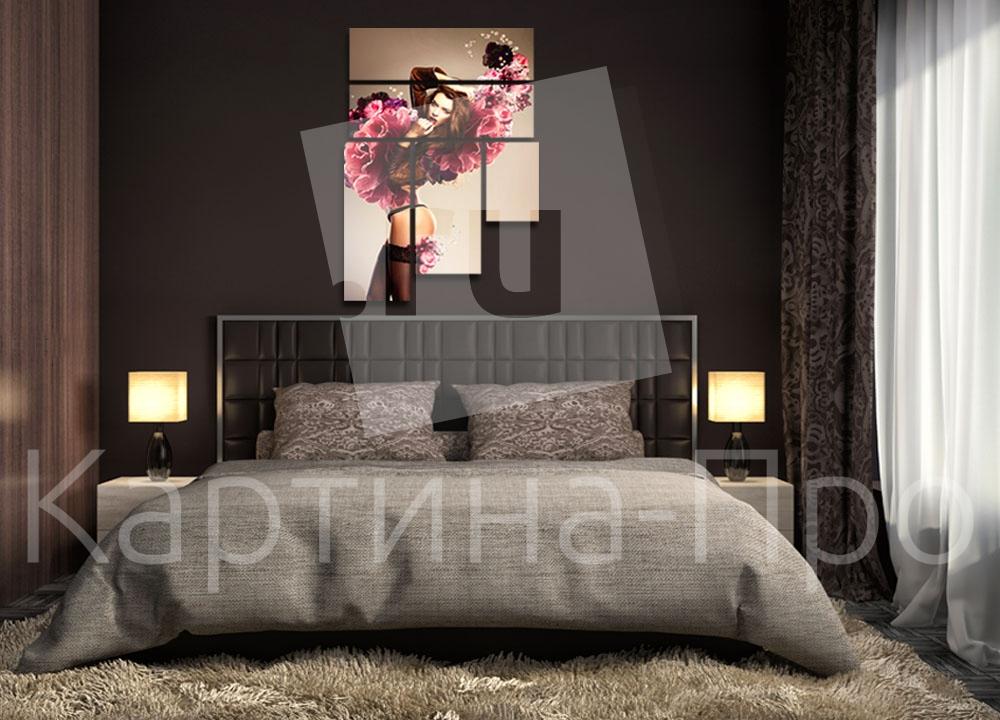 Модульная картина Девушка и цветы от Kartina-Pro
