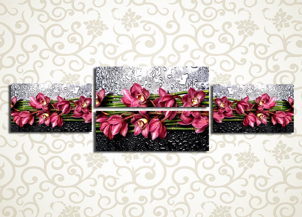 Модульная картина Орхидеи в брызгах водыЦветы и фрукты<br>Прелестная модульная картина «Орхидеи в брызгах воды» станет великолепным украшением гостиной, холла, зала, а также кухни. Она изображает прекрасные цветы, покрытые алмазными каплями воды, изображение выдержано в красных тонах на контрастном фоне. Картина состоит из 4 горизонтальных модулей, при этом ее общая компоновка – также горизонтальная. Высокотехнологичные латексные краски отлично противостоят воздействию влажности и солнечных лучей, а строгий контроль качества сборки предотвращает дефекты или брак.<br>