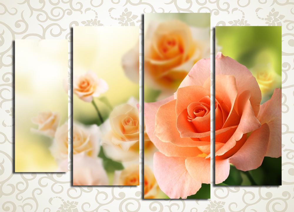 Модульная картина Куст розы