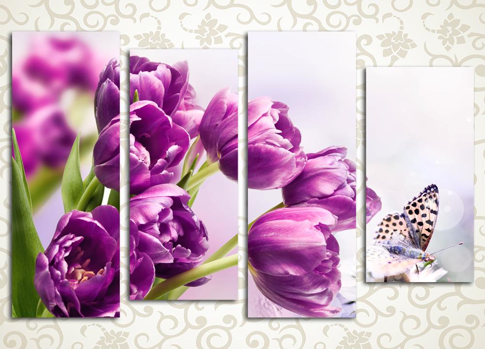 Модульная картина Очарование тюльпанов