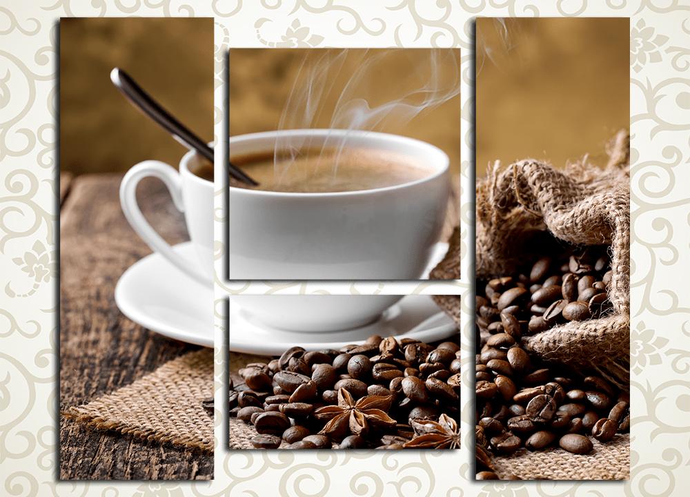 Модульная картина Бодрящий кофеОтличным сюжетом для украшения интерьера не только кухни, гостиной или зала станет модульная картина «Бодрящий кофе». Это полотно изображает дымящуюся чашку ароматного тропического напитка и кофейные зерна в мешочке из грубой ткани. Изображение выдержано в приятных коричневатых тонах, оно состоит из 3 вертикальных модулей, вручную обтянутых холстом. Каждый сегмент изготовлен на прочном подрамнике из натуральной сосны и рассчитан на долгий срок службы. Строгий контроль качества предотвращает обнаружение дефектов или брака.<br>